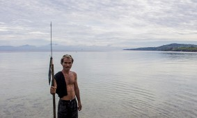 a spear fisherman hunting for breakfast