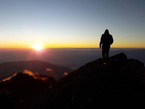 Summit Mt. Rinjani, Lombok at sunrise