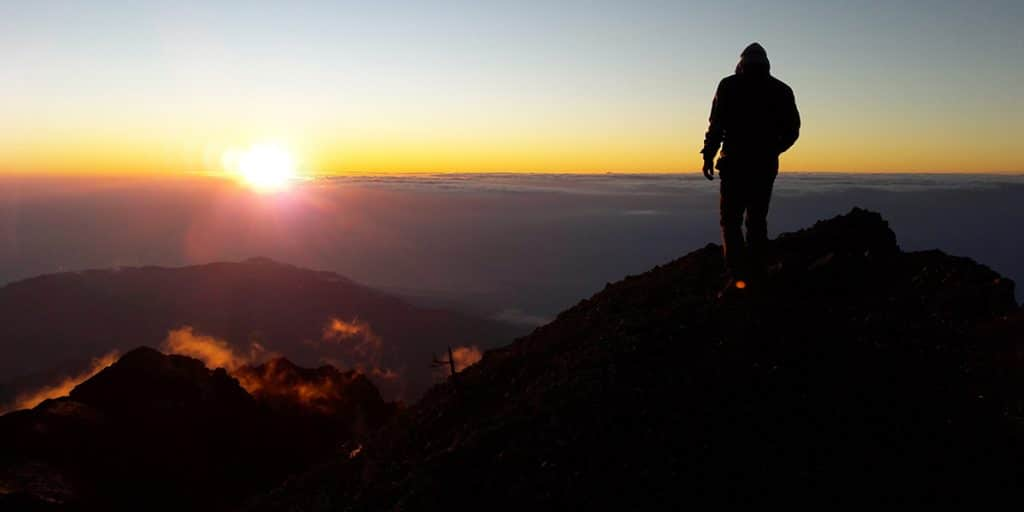 Summit Mt Rinjani, Lombok at sunrise