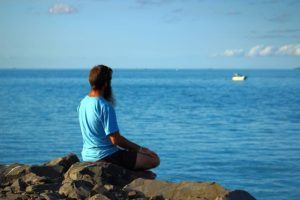 Meditating on the waters edge in Hervey Bay