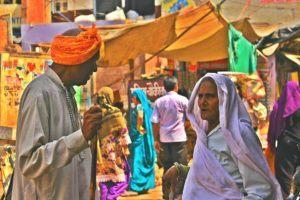 a busy bazaar in india