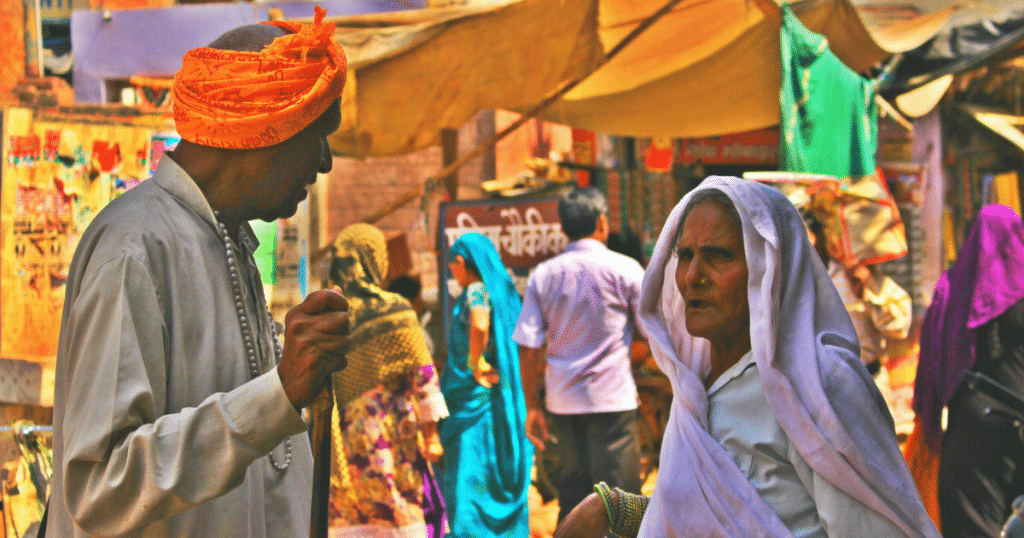 A busy bazaar in India – a colorful experience