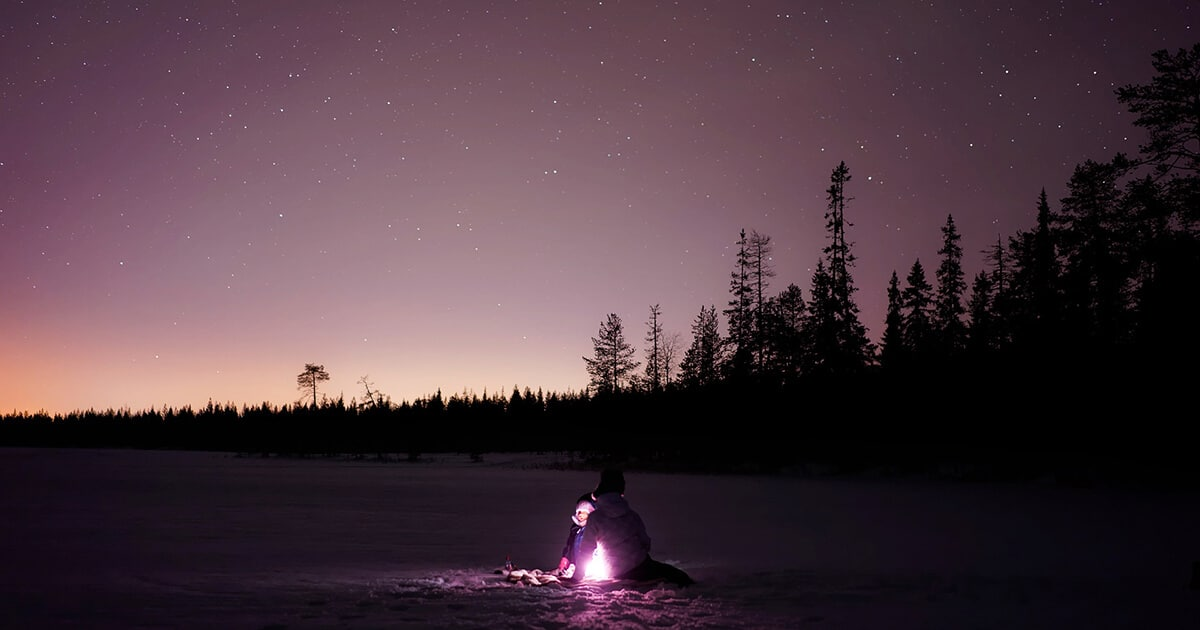 Winter in Finland during dawn