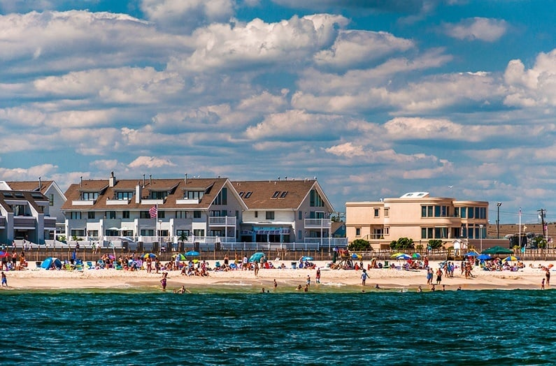 People And Buildings On The Beach In Point Pleasant Beach, New J