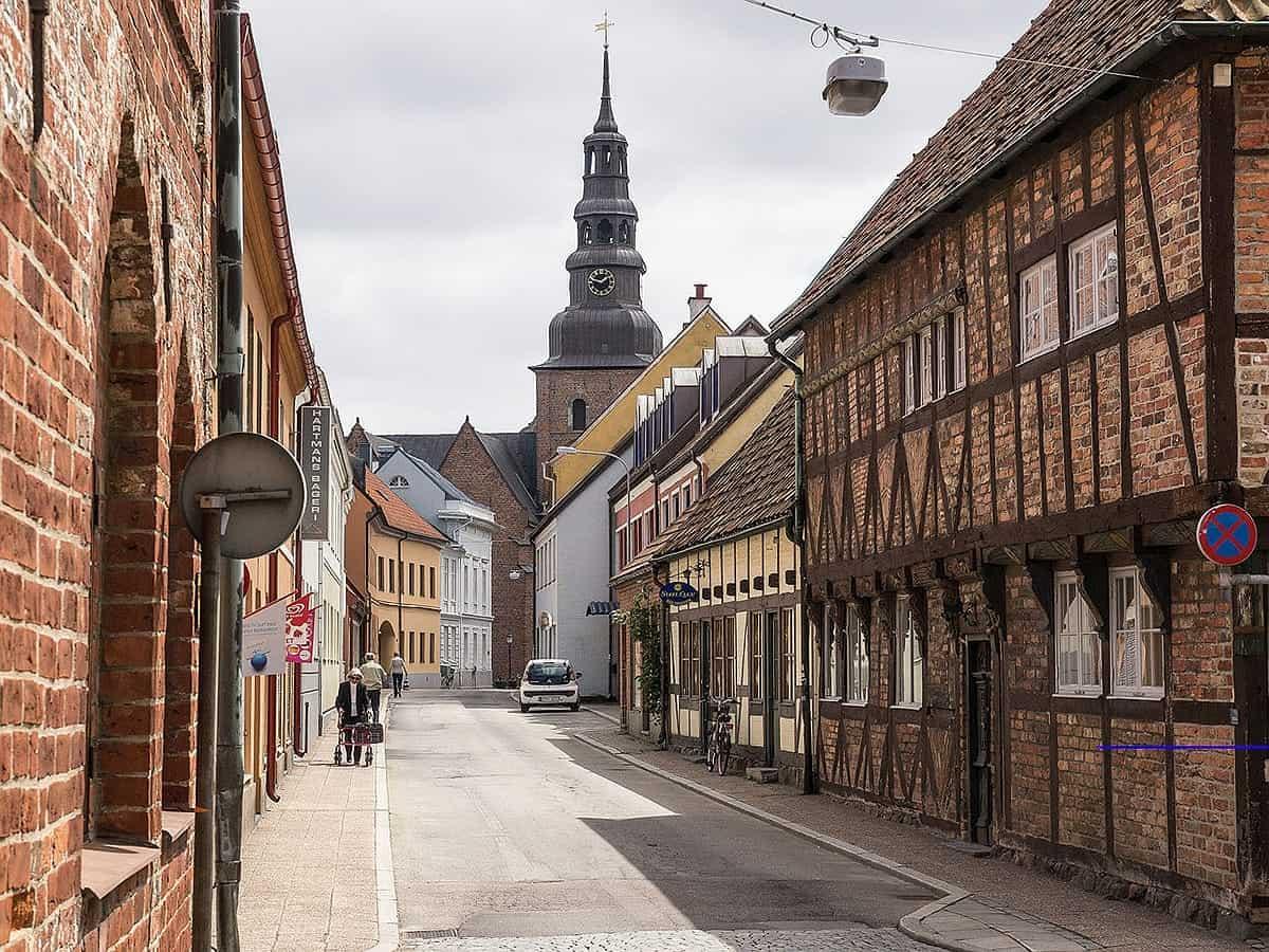 Ystad medieval city center in Sweden