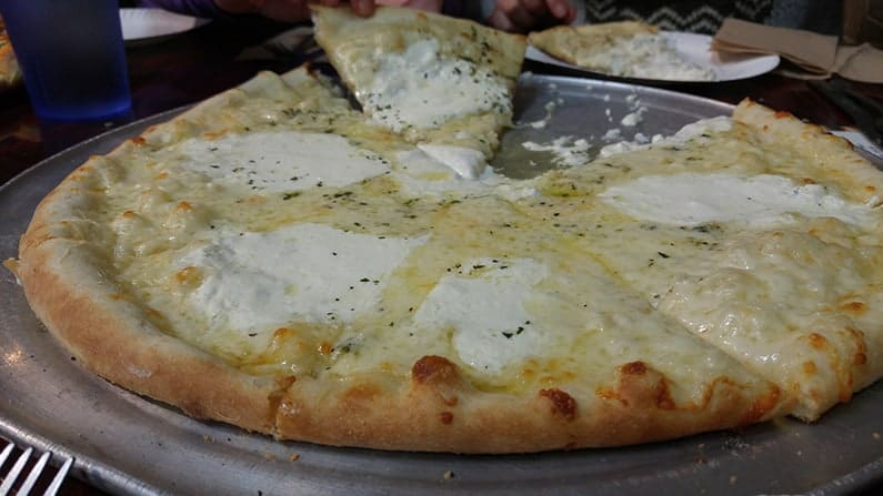 adventure and exotic food White Pizza in America