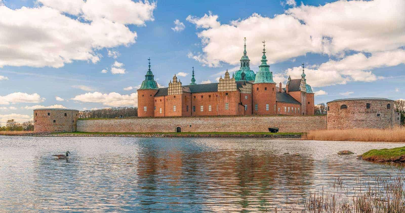 View of historic Kalmar Castle (Kalmar Slott) in the city of Kalmar. Sweden