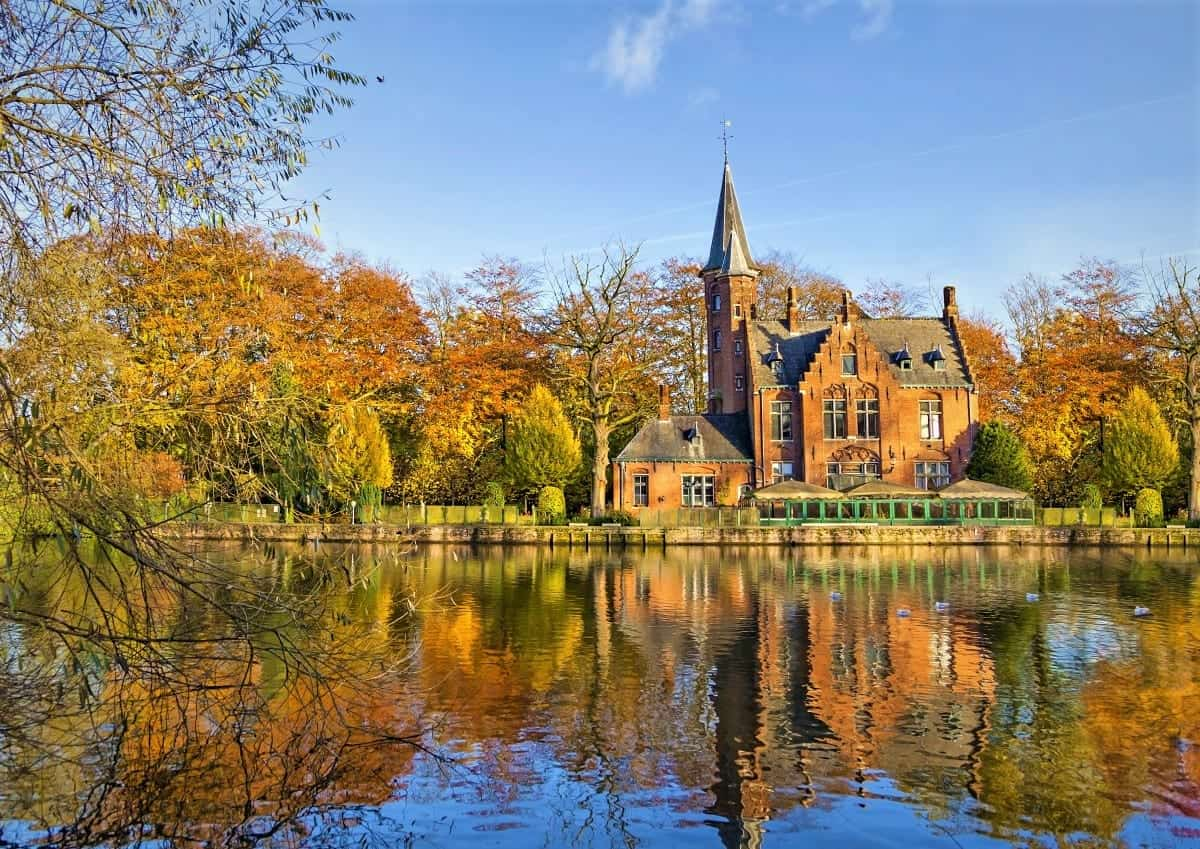 Autumn View in Minnewater lake Bruges Belgium