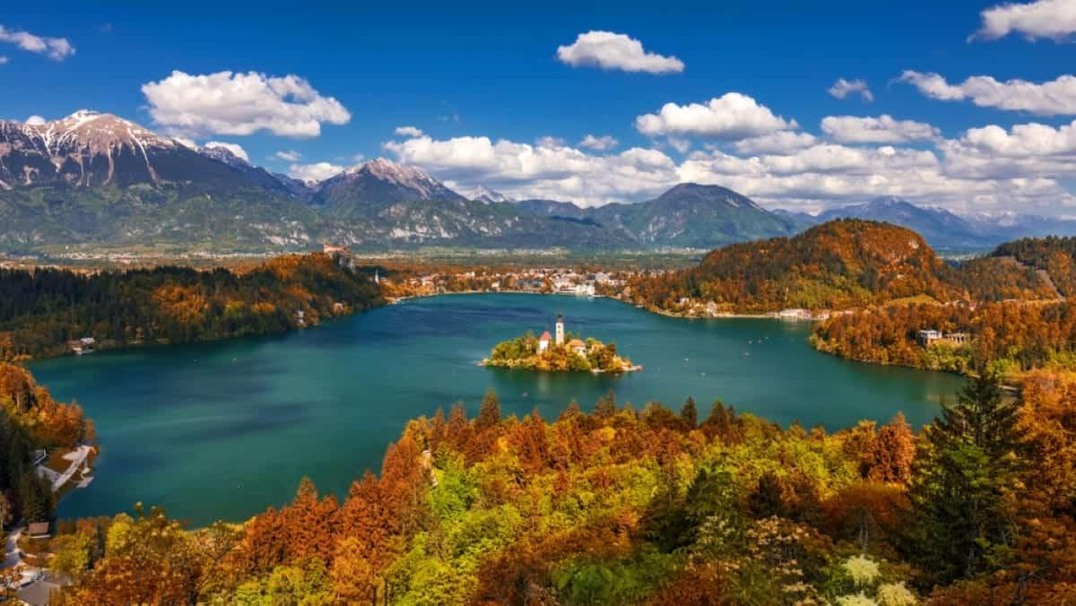 Autumn view in Lake Bled Slovenia