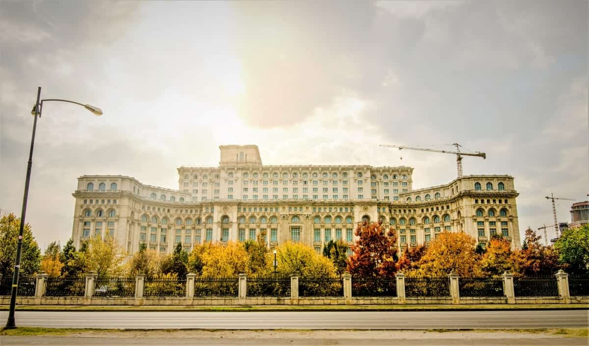 Autumn view in Palace of Parliament Bucherest Romania