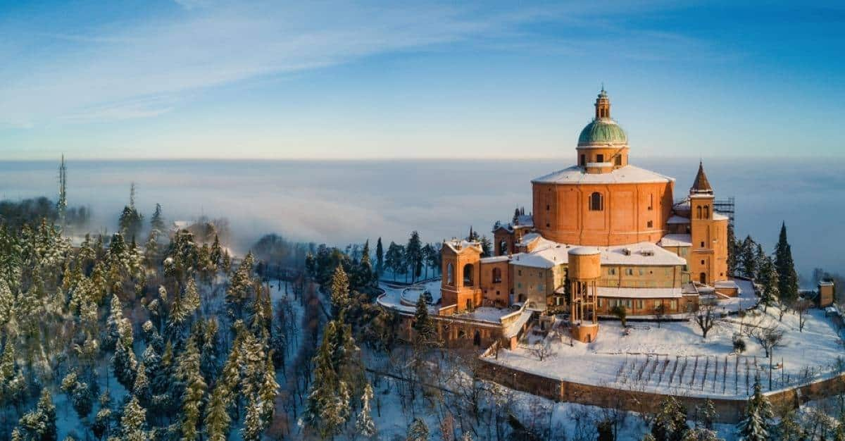 san luca sanctuary covered in snow Bologna, Italy