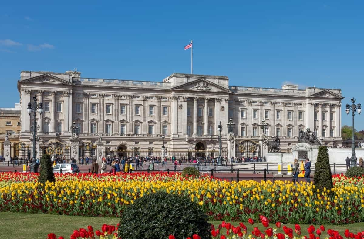 Buckingham Palace from gardens London UK