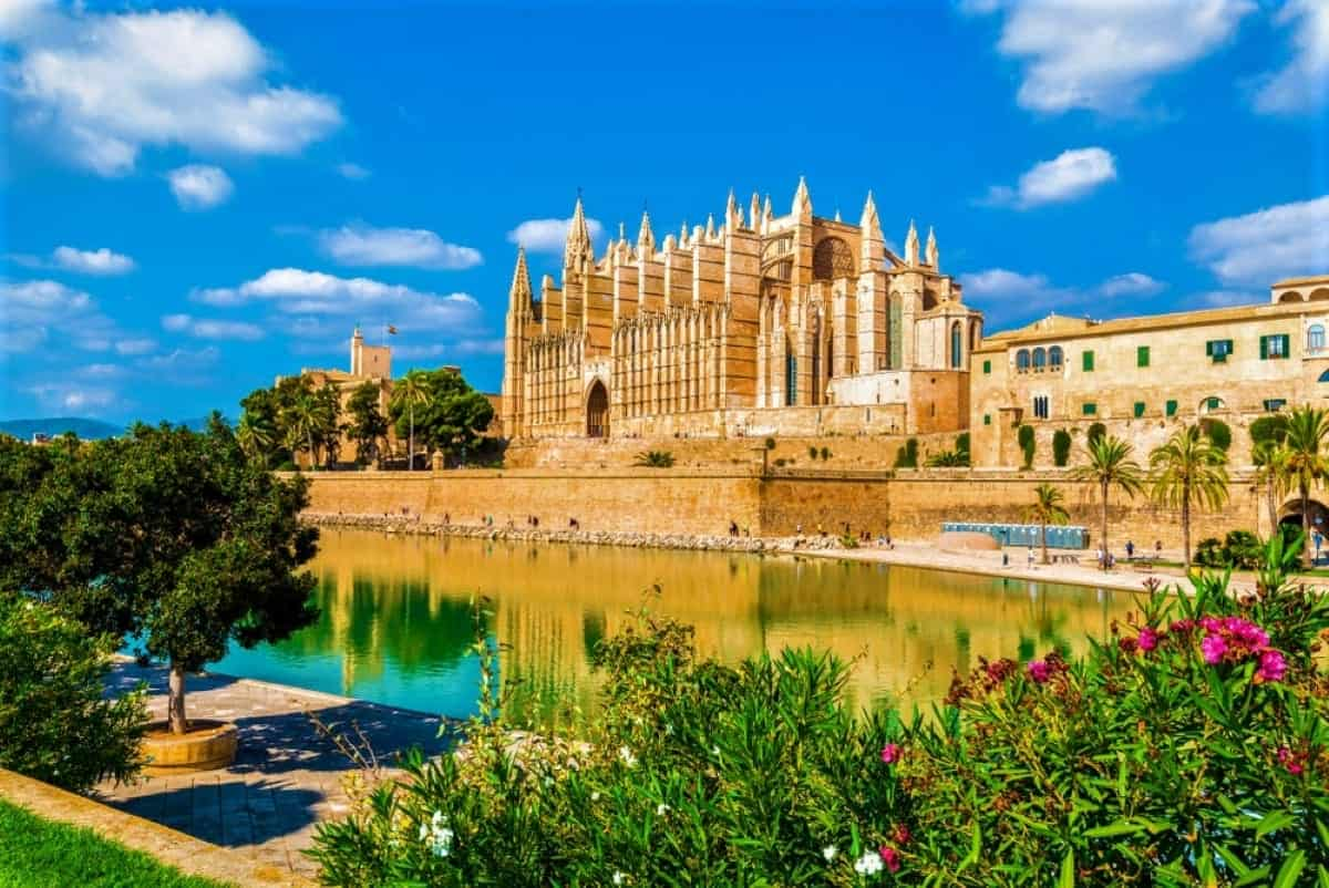 The gothic Cathedral La Seu at Palma de Mallorca islands Spain