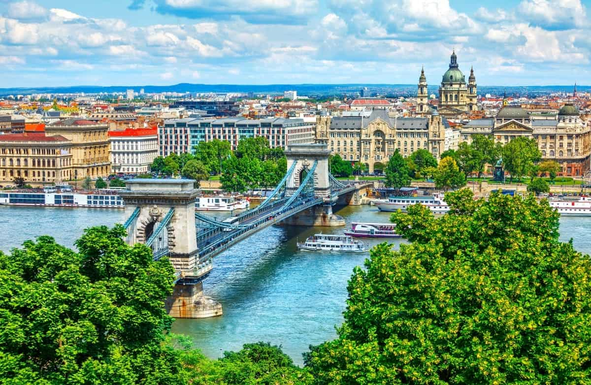 Chain Bridge on Danube river Budapest Hungary