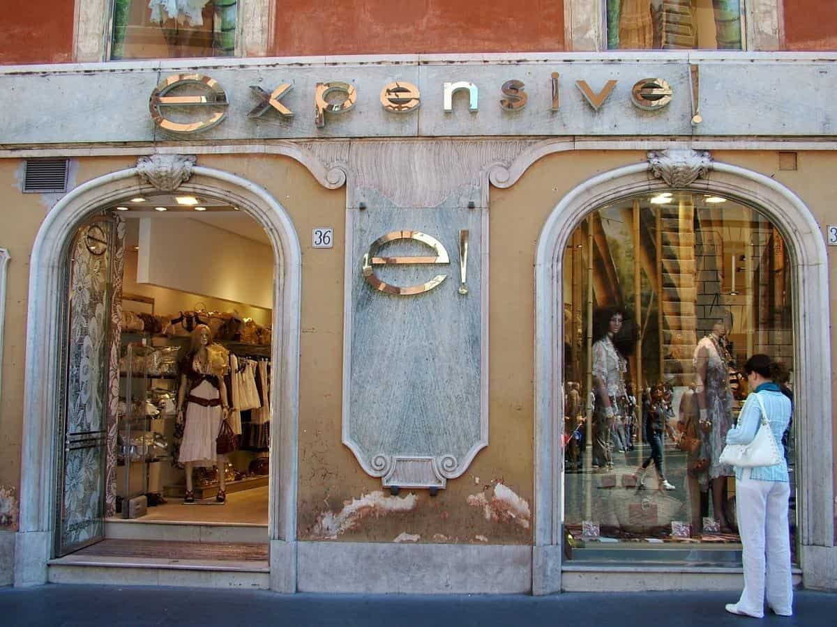 Expensive shop in Rome Italy
