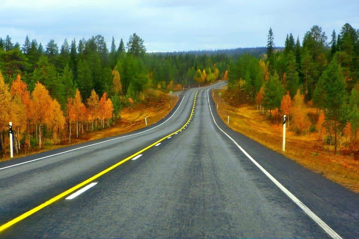 Highway to Lapland in northern part of Finland