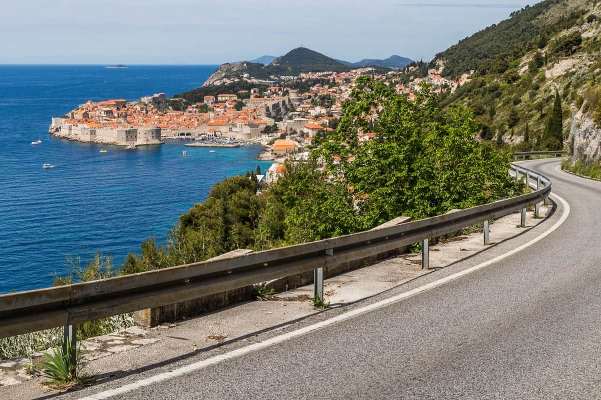 A winding single lane coastal road towards Dubrovnik Croatia