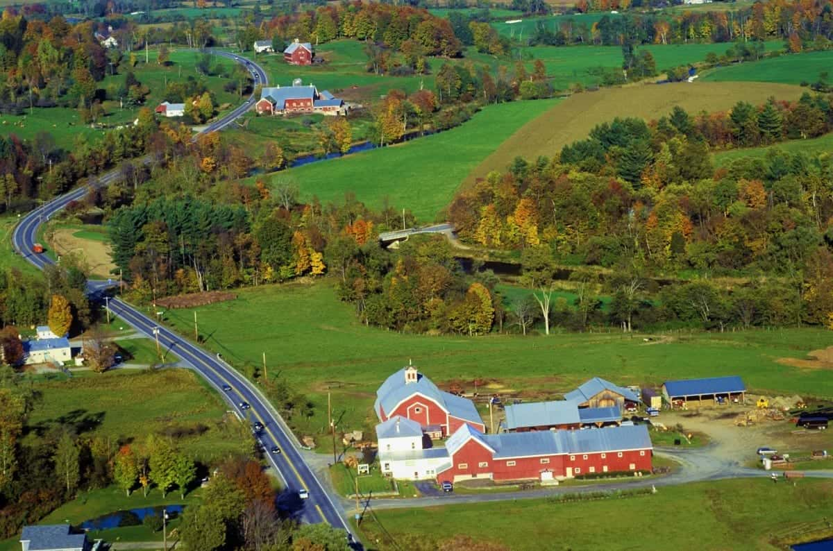 Farm near Stowe VT in autumn on Scenic Route 100