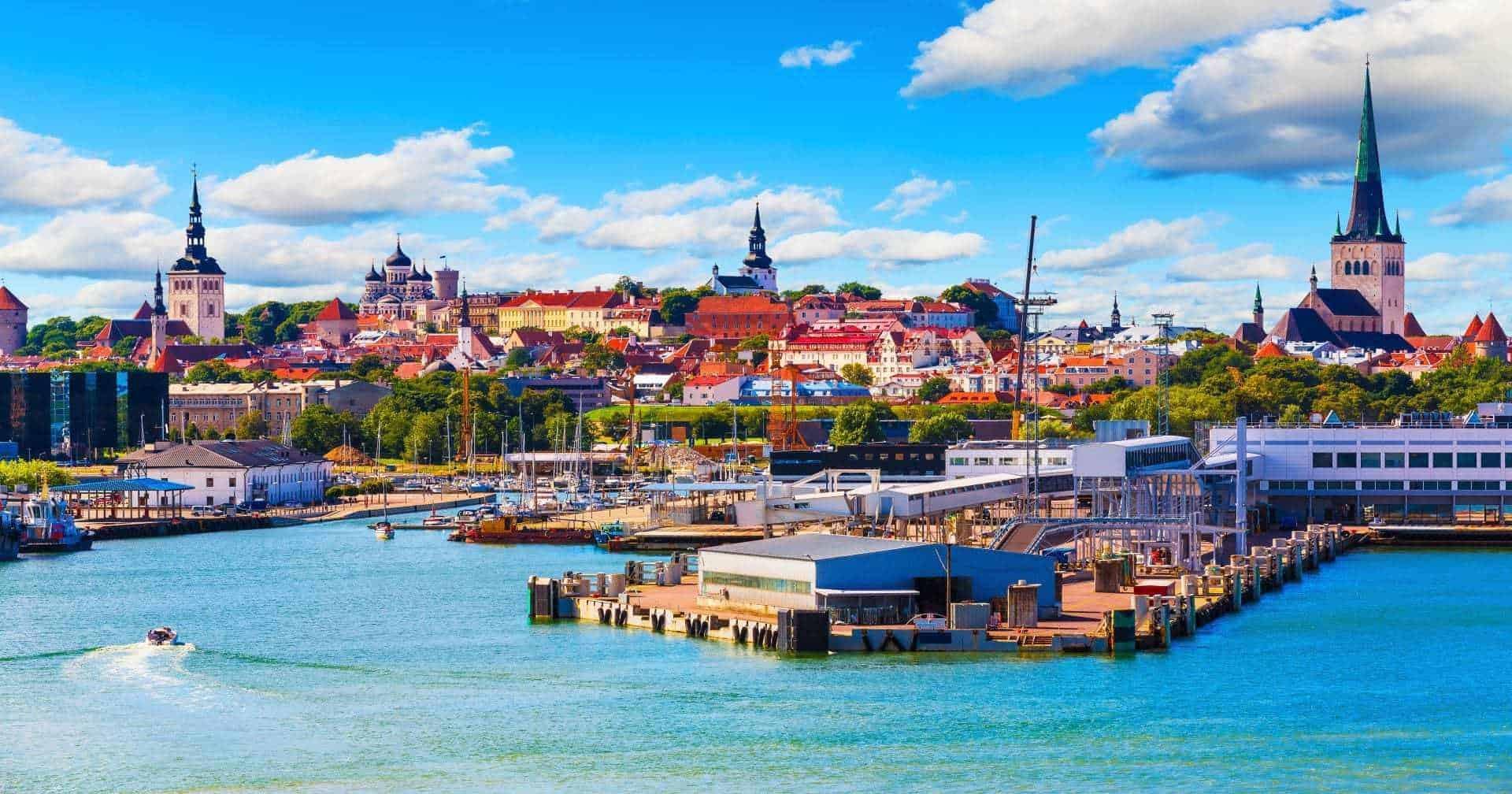 Old Town and sea port harbor in Tallinn Estonia