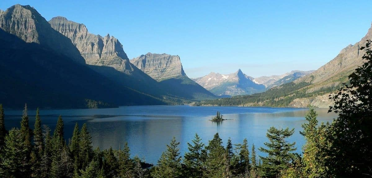 saint mary lake in glacier national park montana