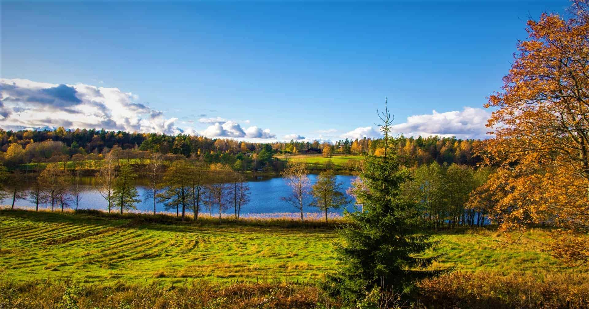Nuuksio lake view in autumn Espoo Finland Finland