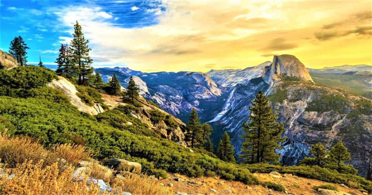 Half dome mountain in yosemite national park in california