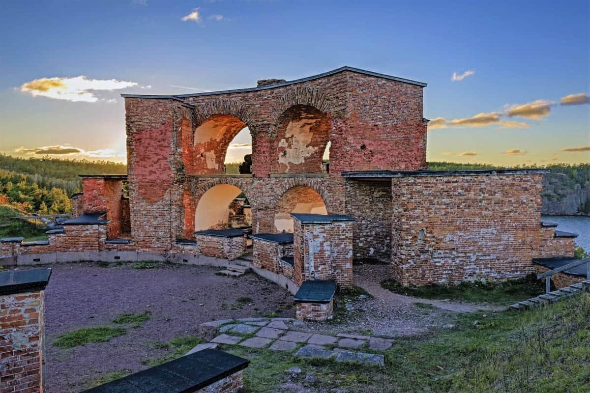 Old Russian Fortress Notvikstornet tower Bomarsund Aland archipelago Finland
