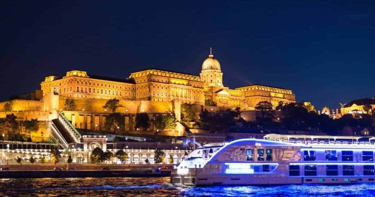 danube river and buda castle at night
