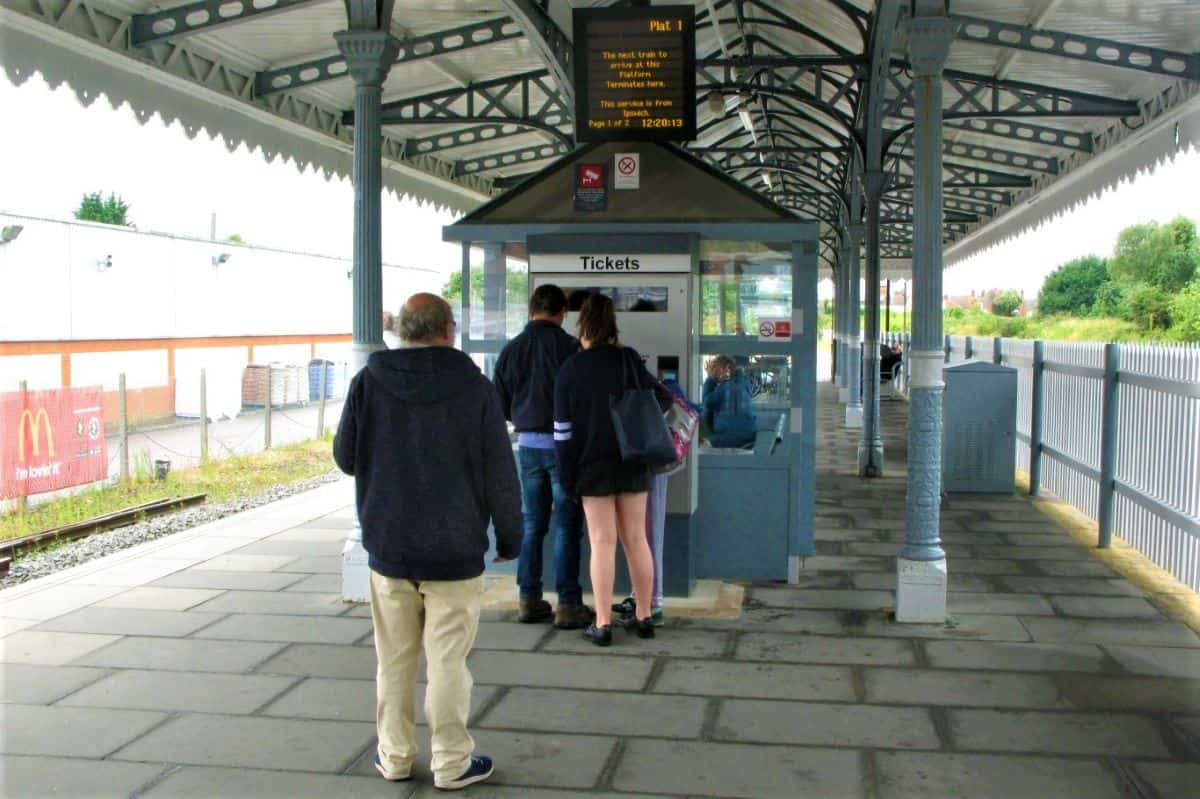 Buying ticket in a train station
