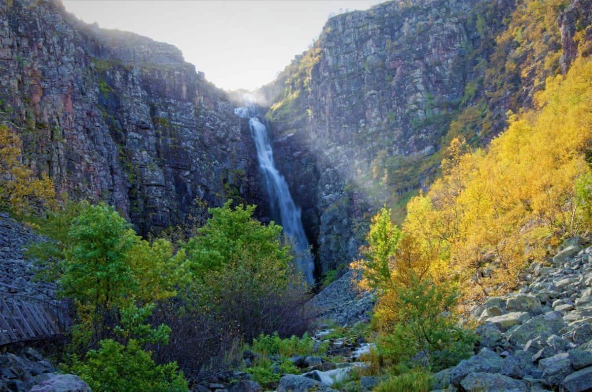 Waterfall in Njupeskär Fulufjället National Park Sweden