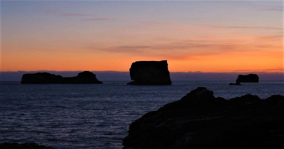 sun set at Dyrholaey Iceland